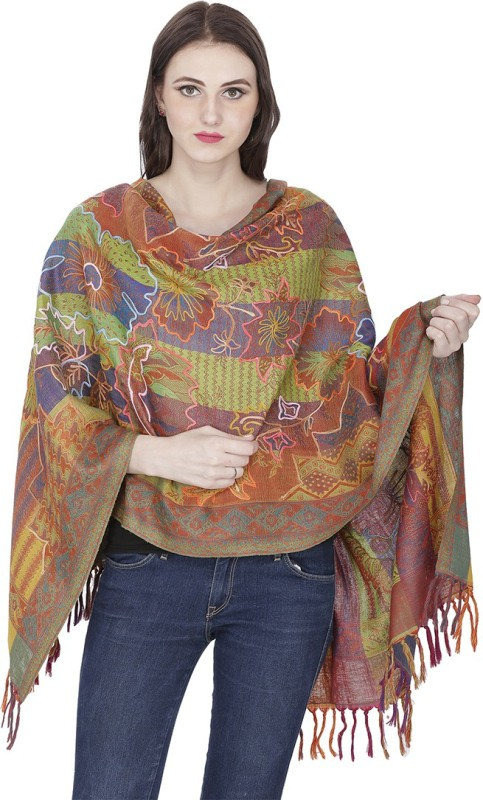 Shawl-e-Kashmir Wool Embroidered Women's Shawl(Multicolor)