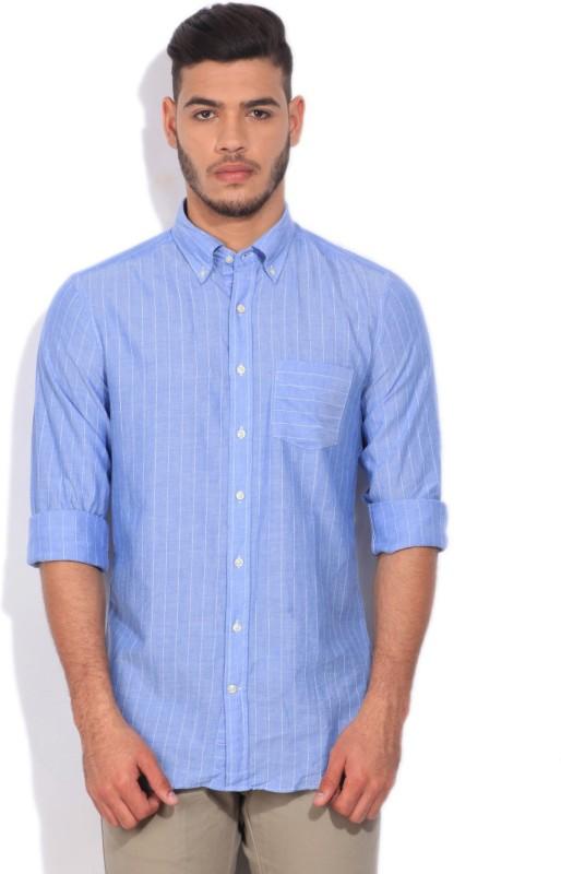 Gant Mens Striped Casual Blue Shirt