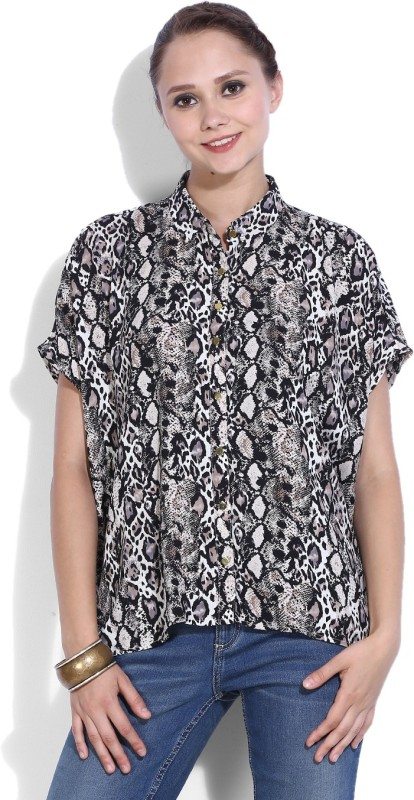 Van Heusen Womens Animal Print Casual Black, Multicolor Shirt