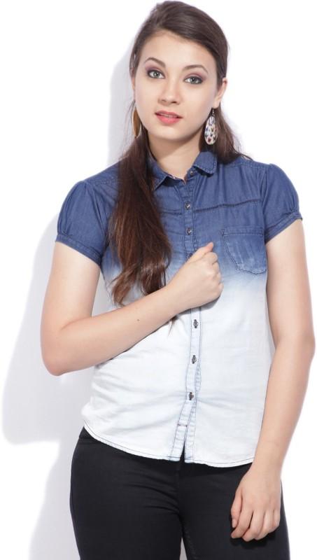 Wrangler Womens Solid Casual Blue Shirt