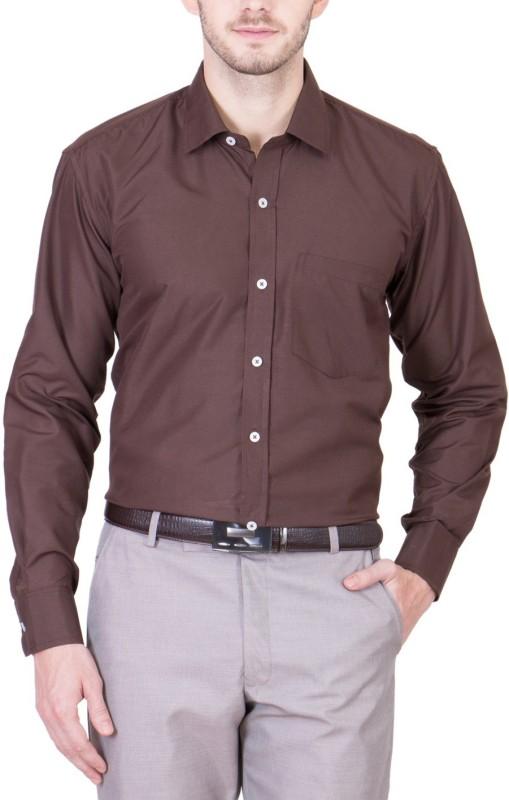 PSK Men Solid Formal Brown Shirt