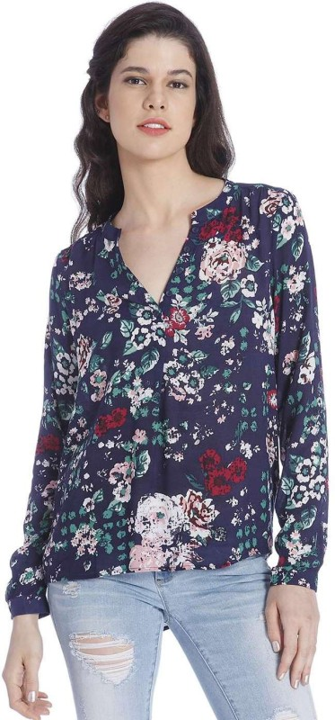 Only Women's Floral Print Casual Blue Shirt
