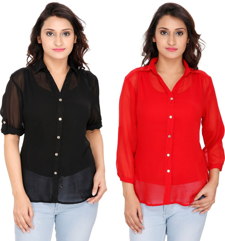 2 Day Womens Solid Casual Multicolor Shirt(Pack of 2)