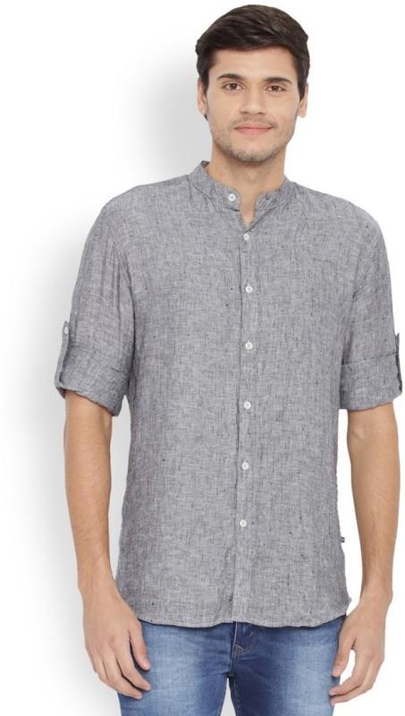 Parx Mens Solid Casual Linen Black Shirt