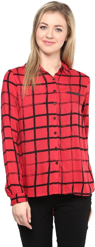 SF Jeans by Pantaloons Women Checkered Formal Red Shirt