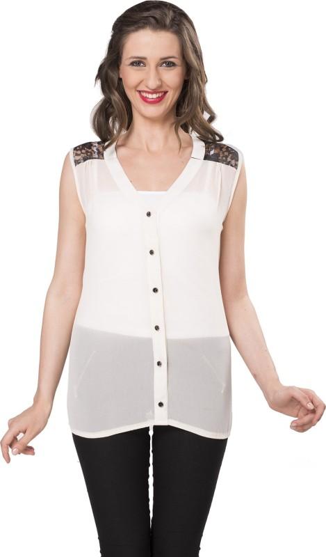 Ishin Designer Studio Women Solid Casual White Shirt