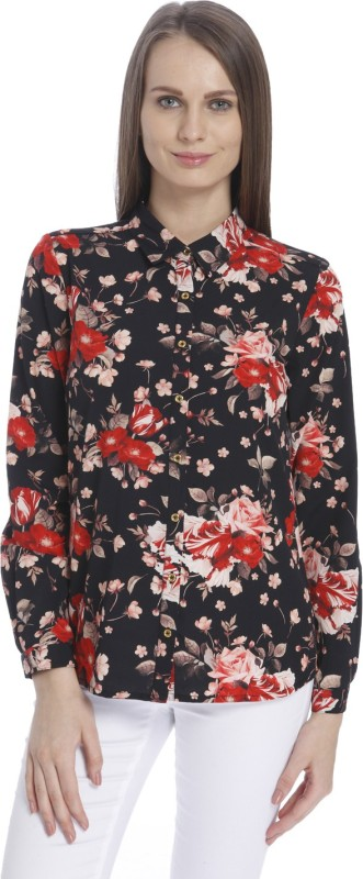 Vero Moda Women's Floral Print Casual Black Shirt