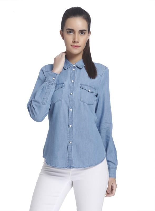 Vero Moda Women's Solid Casual Light Blue Shirt