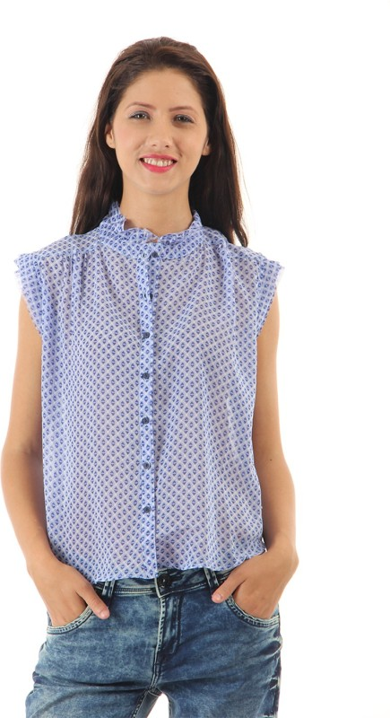 Pepe Jeans Casual Sleeveless Printed Women Blue Top