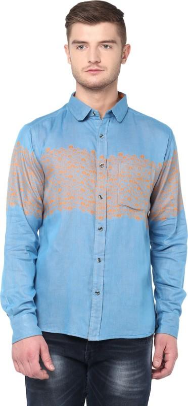 Dennison Men's Printed Formal Blue Shirt