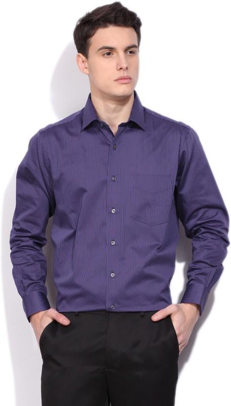 Van Heusen Mens Striped Casual Blue Shirt