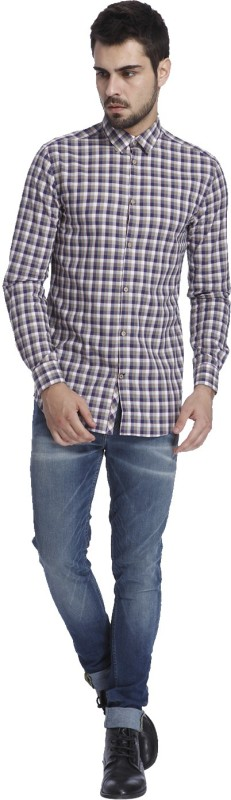 Jack & Jones Mens Checkered Casual Beige Shirt