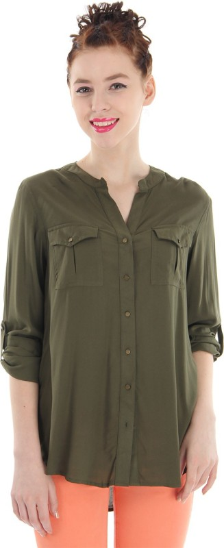 Pepe Jeans Women Solid Casual Green Shirt