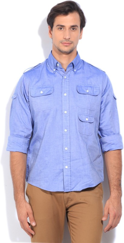 Gant Mens Solid Casual Blue Shirt