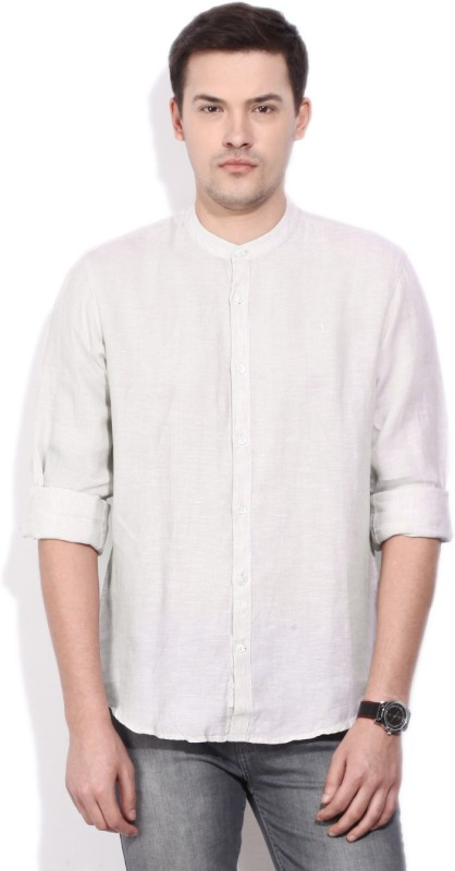 Indian Terrain Mens Solid Casual Linen White Shirt
