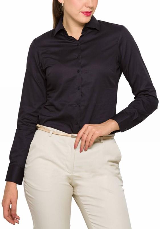 Park Avenue Womens Solid Formal Black Shirt