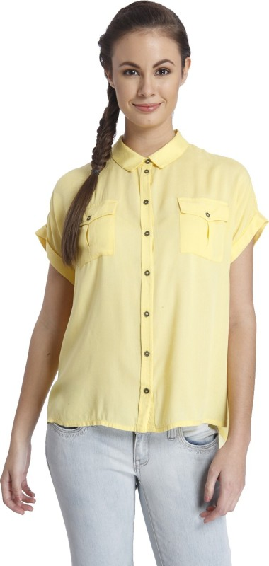 Only Women's Solid Casual Yellow Shirt