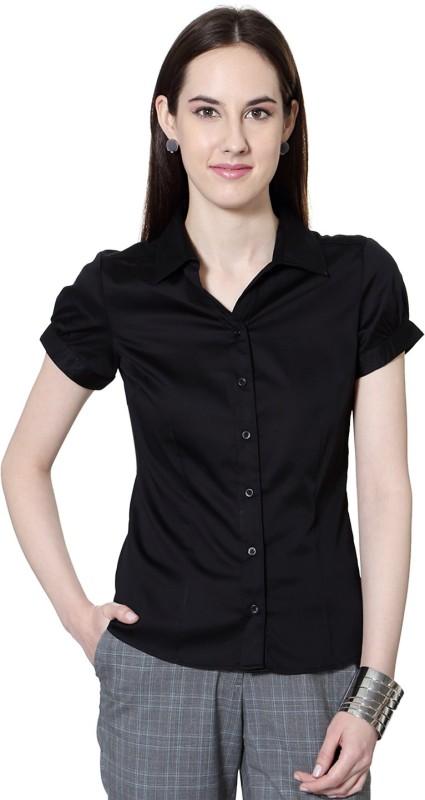 Allen Solly Womens Solid Formal Black Shirt