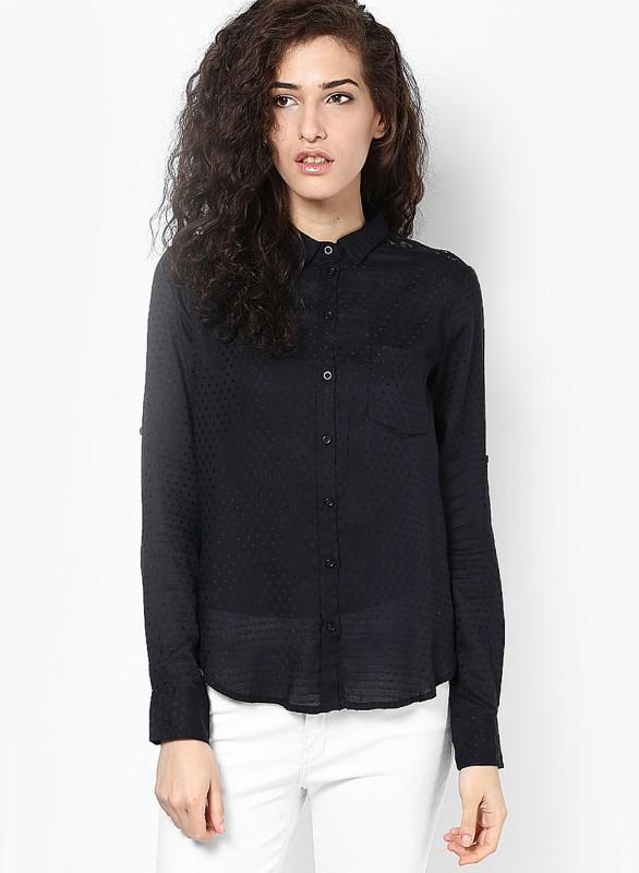 Only Women's Self Design Casual Black Shirt