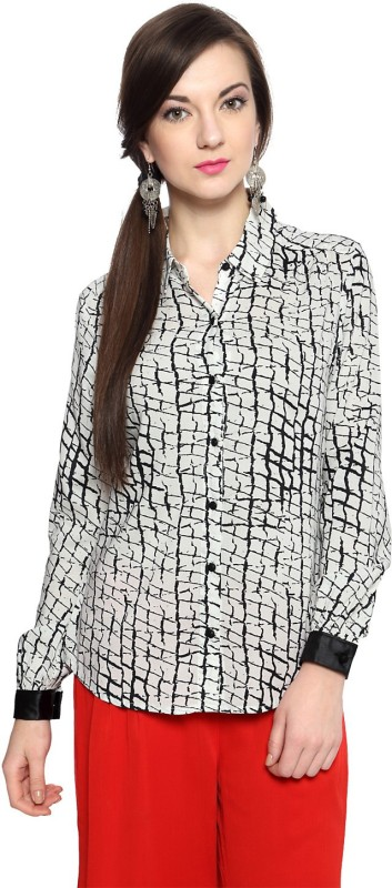 SF Jeans by Pantaloons Women Printed Casual White Shirt