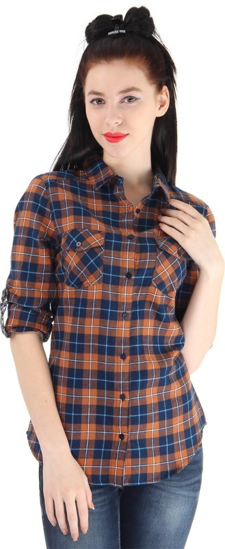 Pepe Jeans Women Checkered Casual Brown Shirt