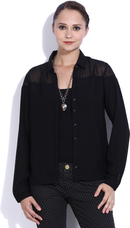 Vanheusen Womens Solid Casual Black Shirt