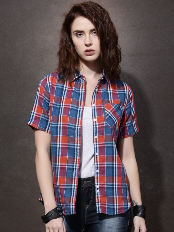 Roadster Women's Checkered Casual Red, Blue Shirt