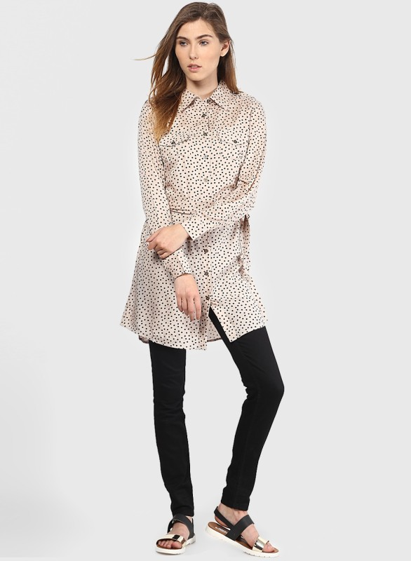 Vero Moda Women's Polka Print Casual Beige Shirt