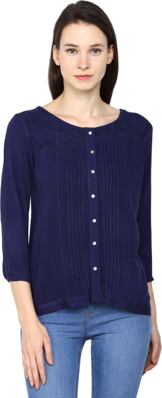 Arrow Womens Solid Casual Blue Shirt