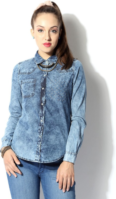 SF Jeans by Pantaloons Women Woven Casual Blue Shirt