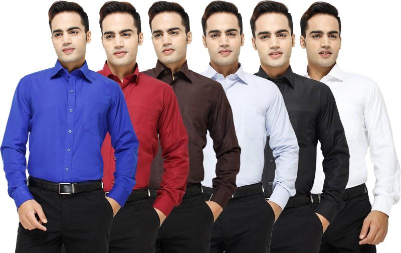 Yuva Men's Solid Formal Blue, Maroon, Brown, Light Blue, Black, White Shirt(Pack of 6)