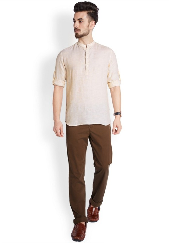 Parx Mens Solid Casual Linen Beige Shirt
