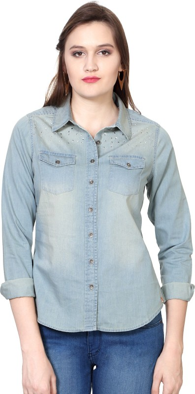 SF Jeans by Pantaloons Women Solid Casual Blue Shirt