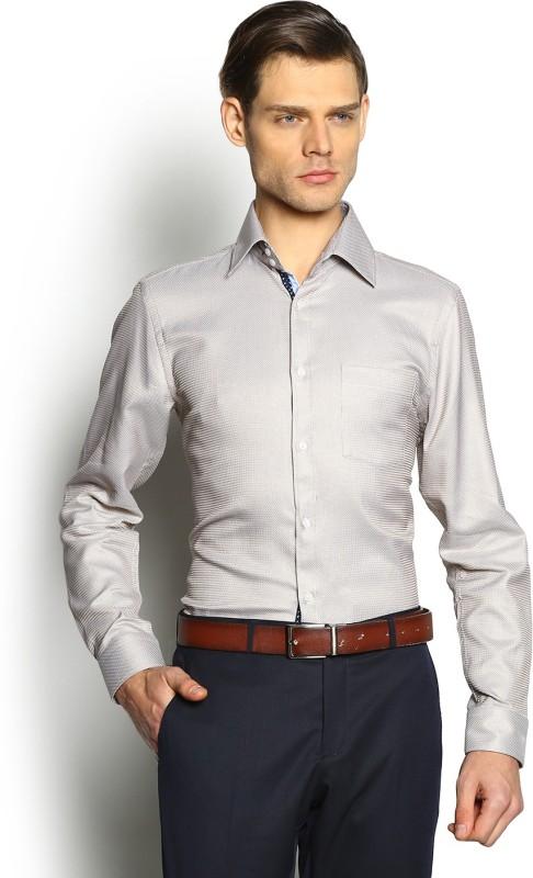 Blackberrys Mens Self Design Formal Beige Shirt