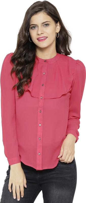 Sassafras Women's Solid Casual Pink Shirt