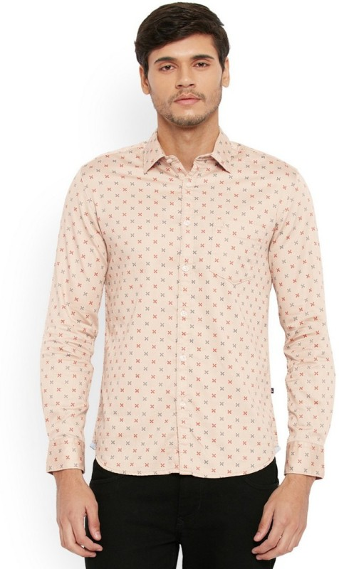 Parx Mens Printed Casual Beige Shirt