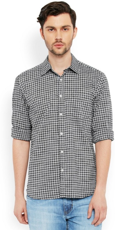 Parx Mens Checkered Casual Black Shirt