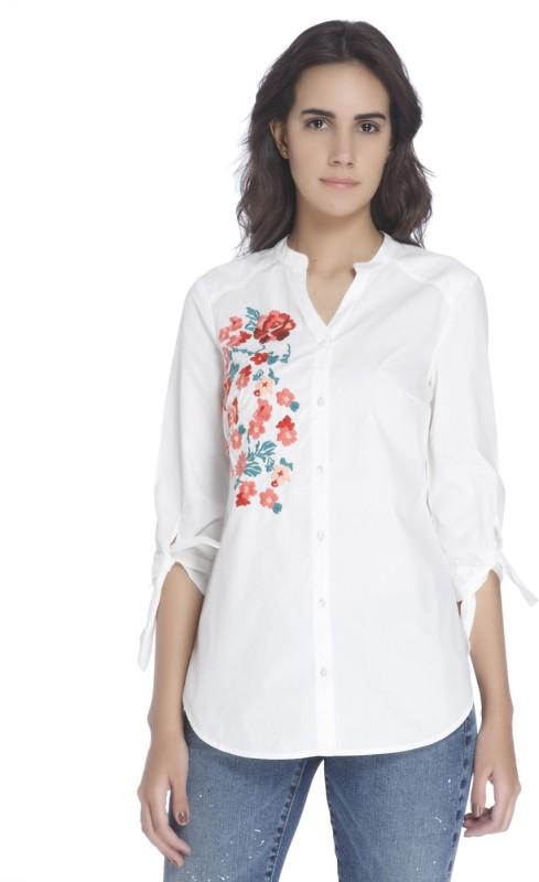 Vero Moda Women's Embroidered Casual White Shirt