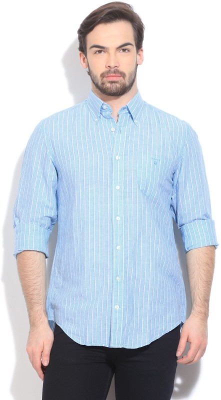 Gant Mens Striped Casual Blue Shirt
