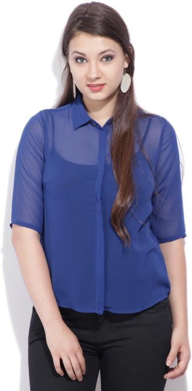 Van Heusen Womens Solid Casual Spread Collar Shirt