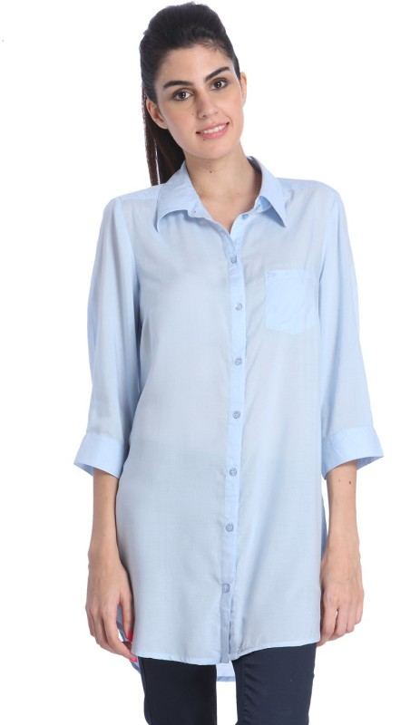 Only Women's Solid Casual Blue Shirt