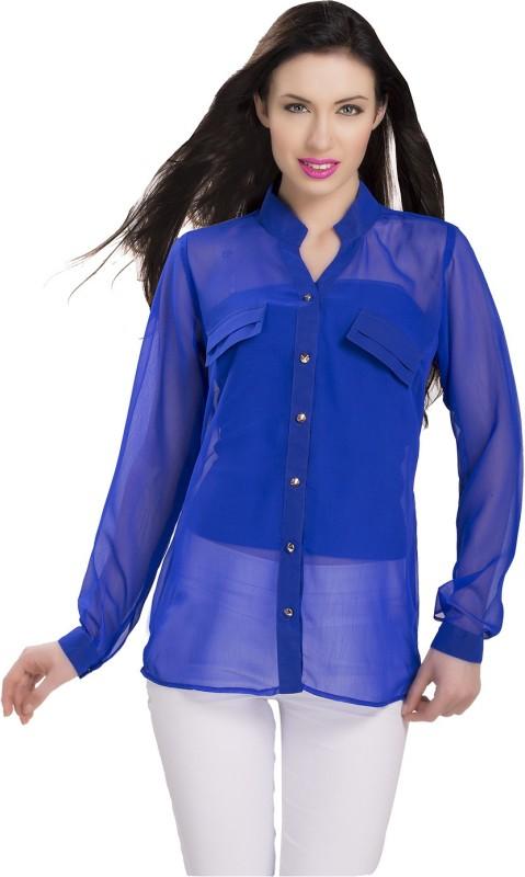 Ishin Designer Studio Women Solid Casual Blue Shirt