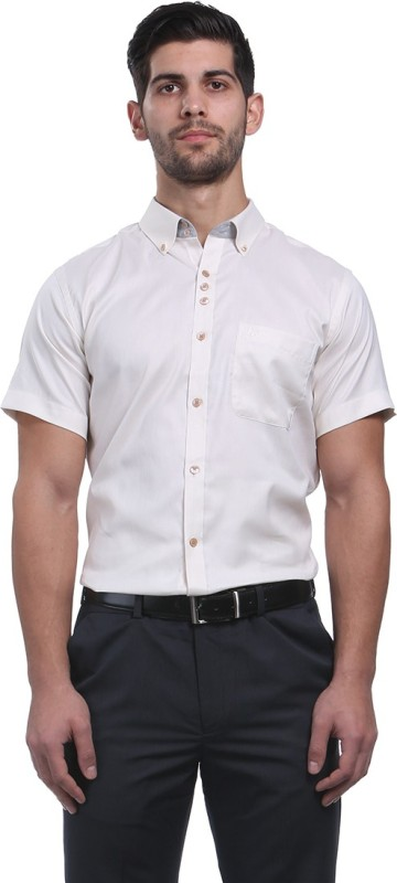 Raymond Mens Solid Formal Beige Shirt