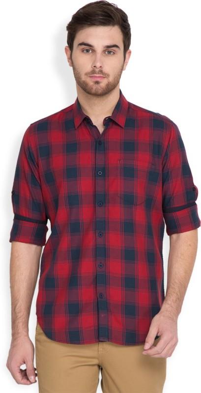 4. Highlander Men's Checkered Casual Red, Dark Blue Shirt