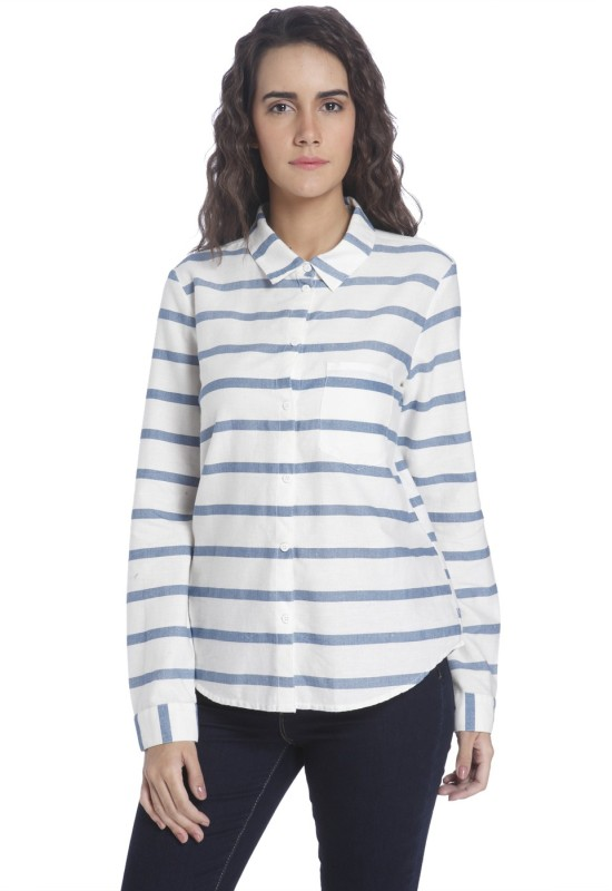 Vero Moda Women's Striped Casual White Shirt