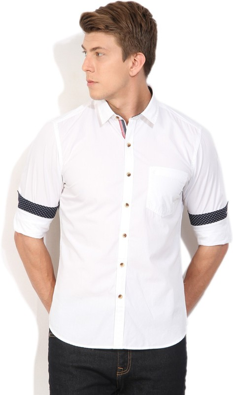 John Players Men's Solid Casual White Shirt