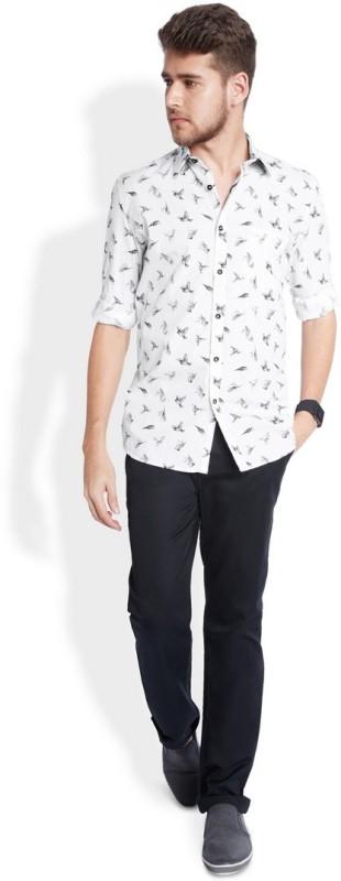 Parx Mens Printed Casual Black Shirt