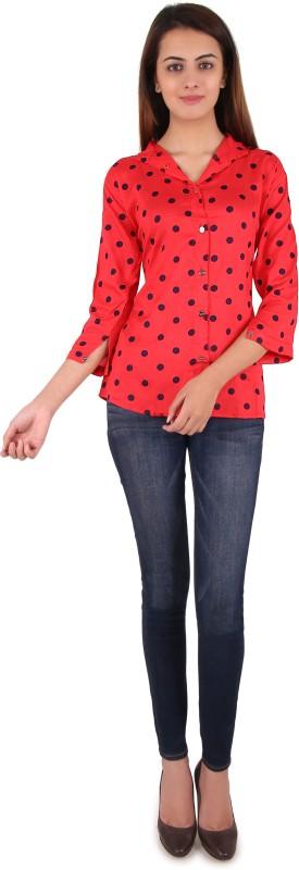 Western World Women Polka Print Casual Red Shirt