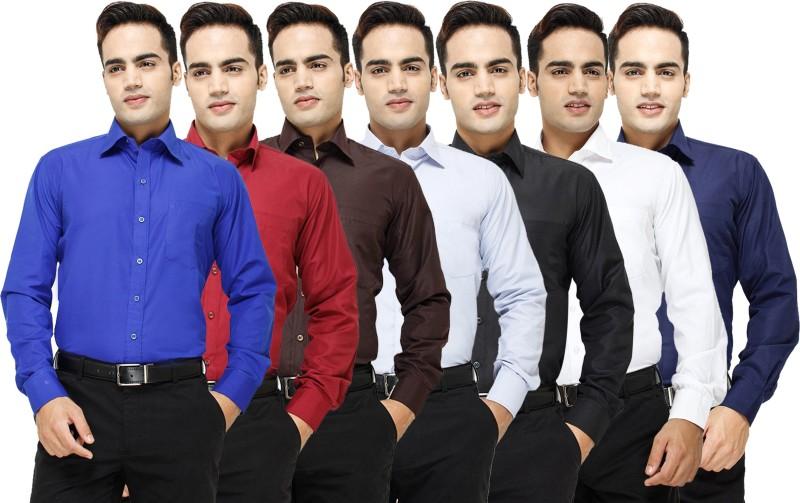 Yuva Men's Solid Formal Blue, Maroon, Brown, Light Blue, Black, White, Dark Blue Shirt(Pack of 7)