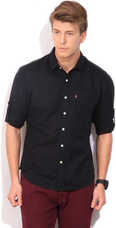 Levis Mens Solid Casual Black Shirt